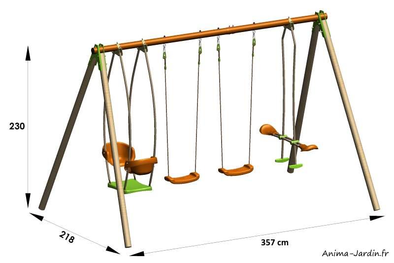 Portique Bongo-bois-métal-2,30m-4agrès-dimensions-Trigano- Anima-Jardin.fr