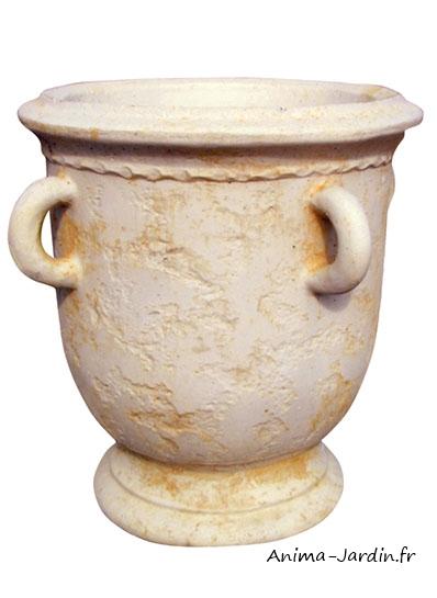 pot ancien en pierre avec anse ocre ton vieilli jarre bac fleurs achat vente. Black Bedroom Furniture Sets. Home Design Ideas