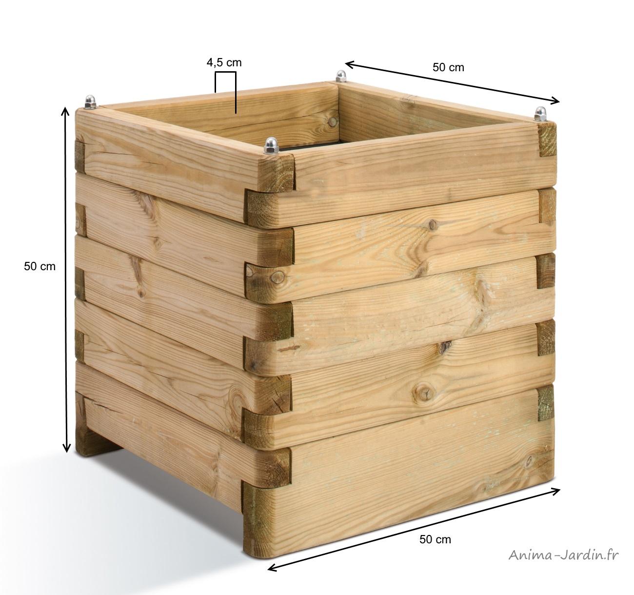 bac carré en bois-autoclave-oléa-50cm-dimensions-anima-jardin.fr