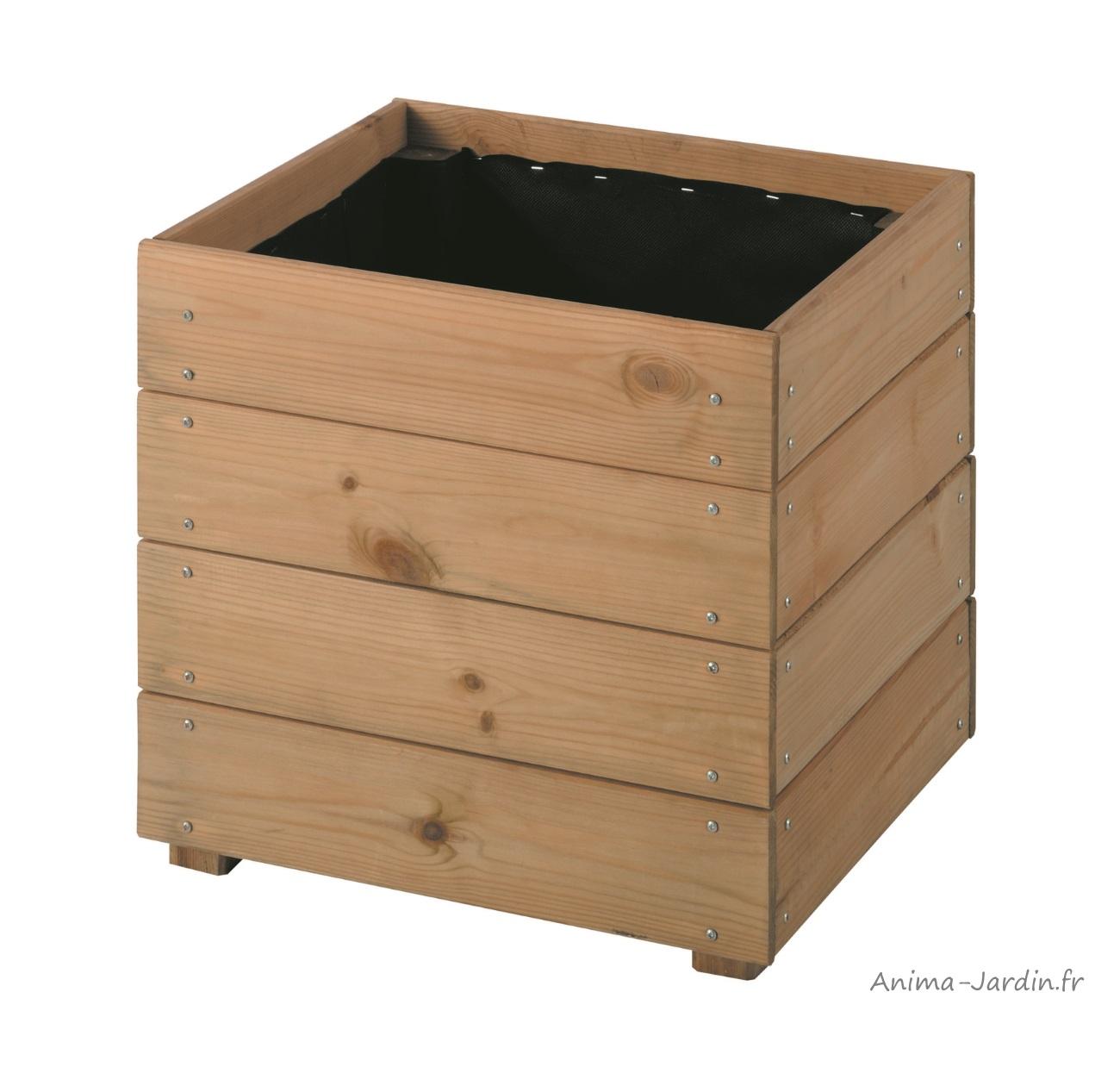 bac carré essencia de 40 cm en bois autoclave, essencia, bac à