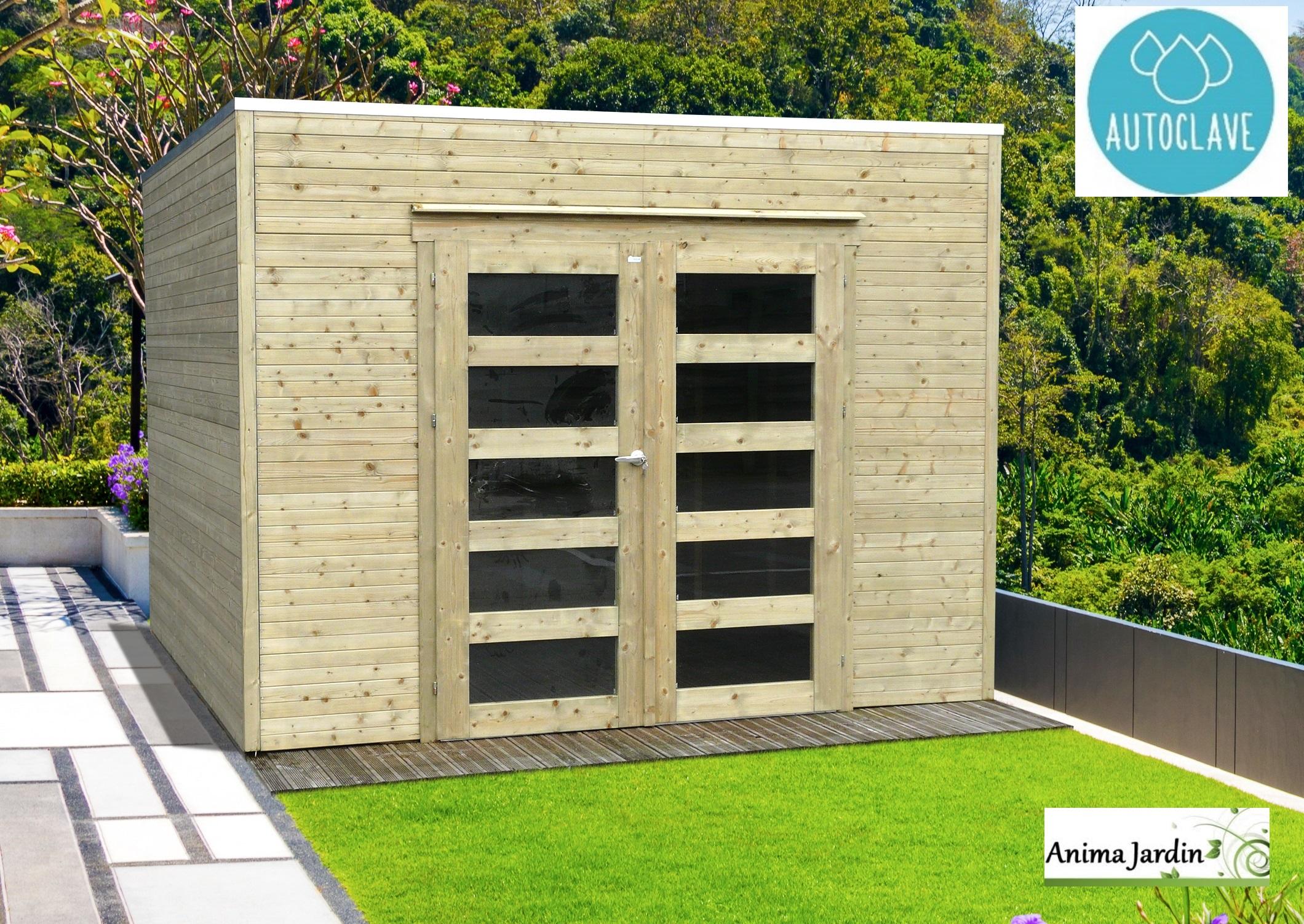 Grande Cabane De Jardin Pas Cher abri de jardin en bois autoclave 19mm, bari, 8m², toit plat