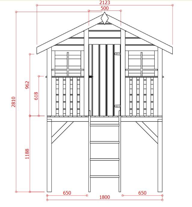 Cabane en bois sur pilotis-enfant-jeux-3,42m²-dimensions-Anima-Jardin.fr