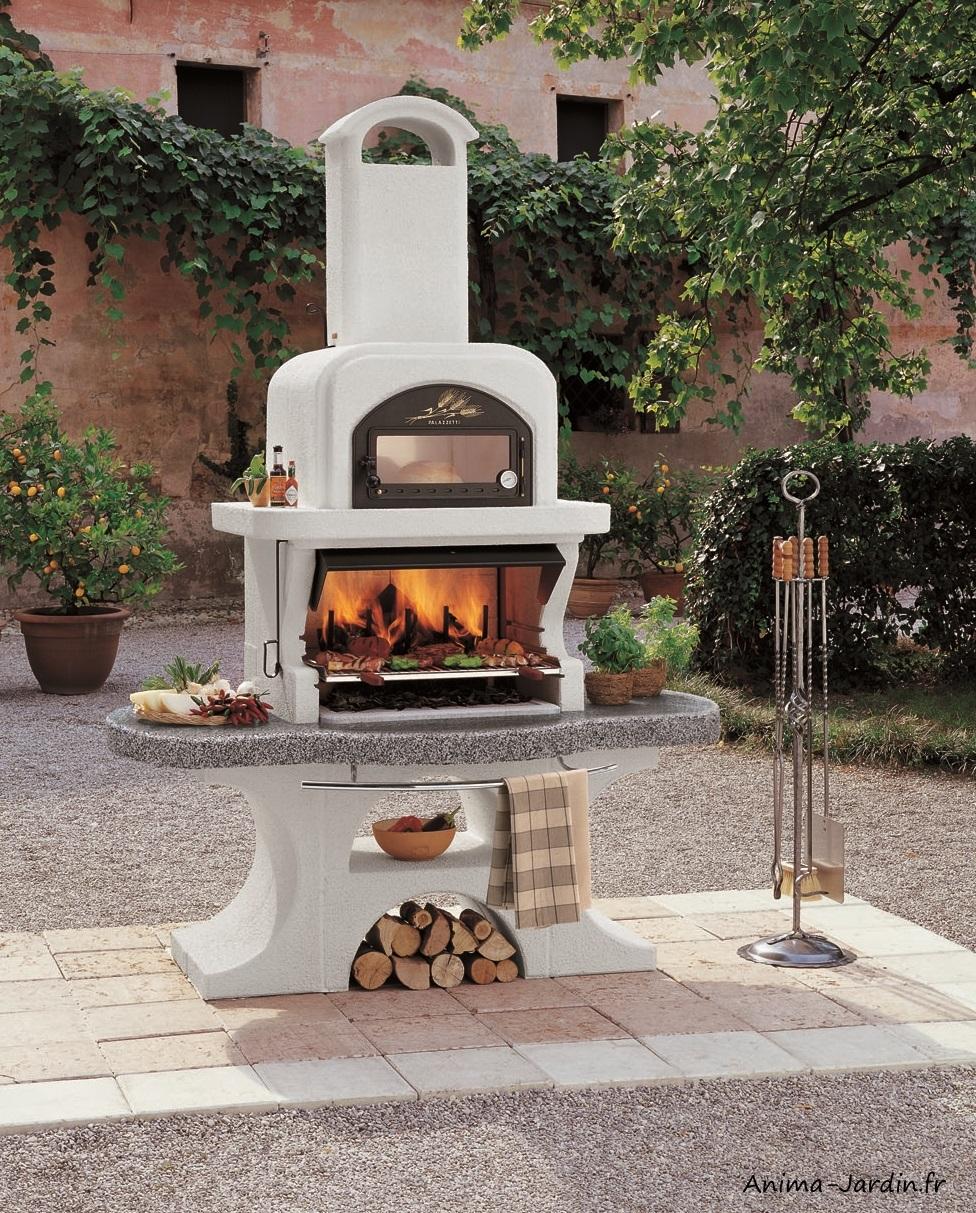Barbecue en pierre-Capri 2-avec hotte-ciment-charbon de bois-Palazzetti-barbecue de qualité-Anima-Jardin.fr