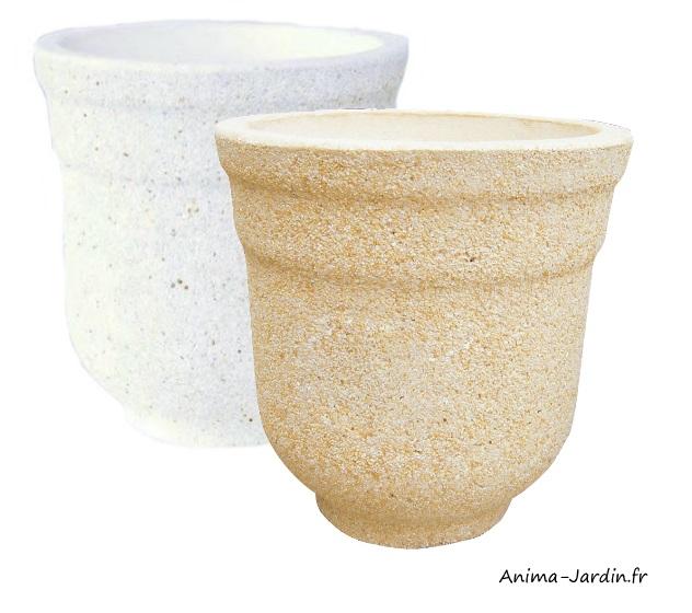 Bac rond-Corinto-marbre grainé-poterie de jardin-Framusa-Anima-Jardin.fr
