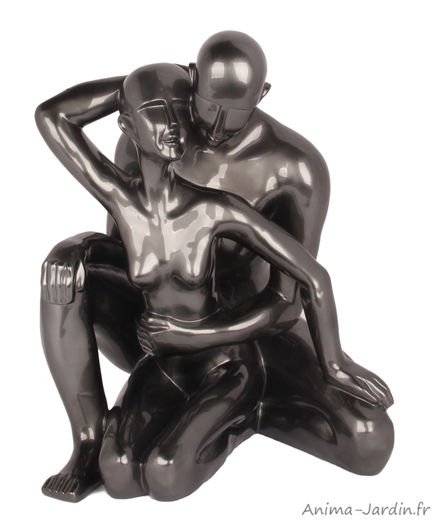 Sculpture-homme et femme entrelacés-silhouette-idée cadeau-statue moderne-Anima-Jardin.fr