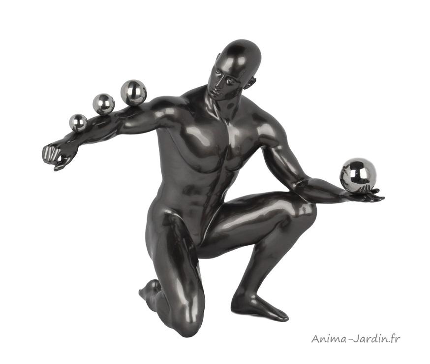 Sculpture-homme-sphères-polyrésine-idée cadeau-décoration intérieure - Anima-Jardin.fr