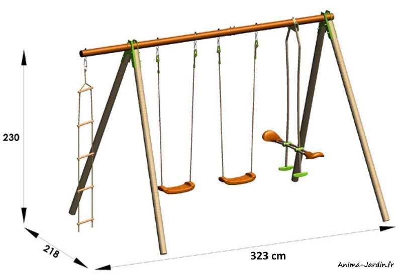 Portique-Deko-2,30m-4 agrès-dimensions-Trigano-Anima-Jardin.fr