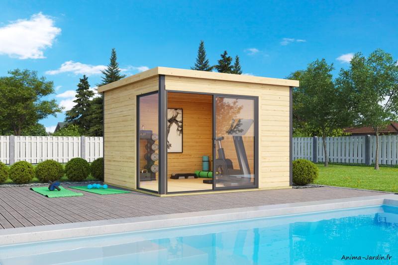 Abri de jardin en bois-8,48 m²-44mm-Domeo 1 Plus-avec baie vitrée double vitrage-épicéa-moderne-achat-Anima-Jardin.fr