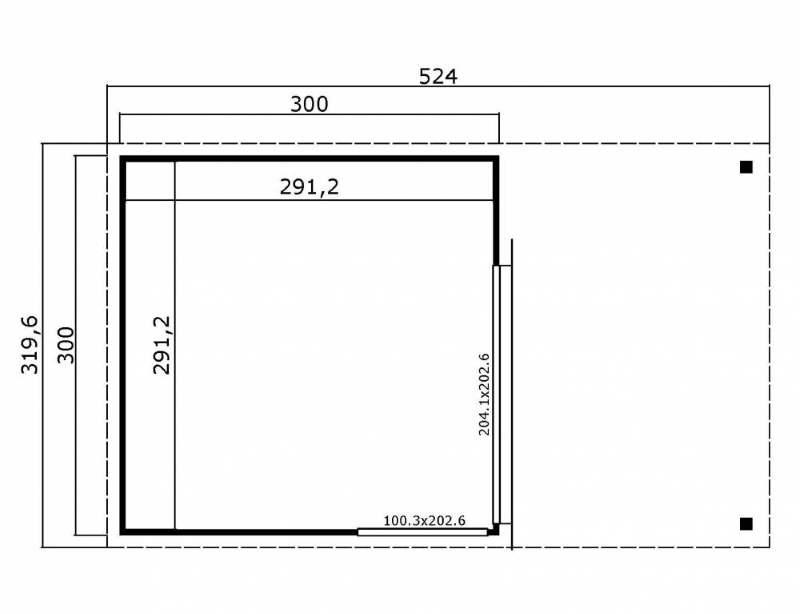 Abri de jardin en bois-DOMEO2-dimensions-Anima-Jardin.fr