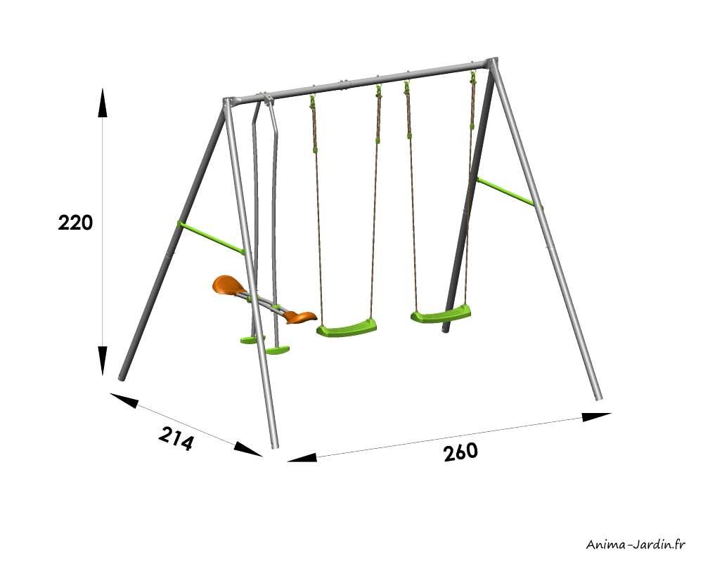 Dimensions-portique en métal-Trigano-Anima-Jardin.fr