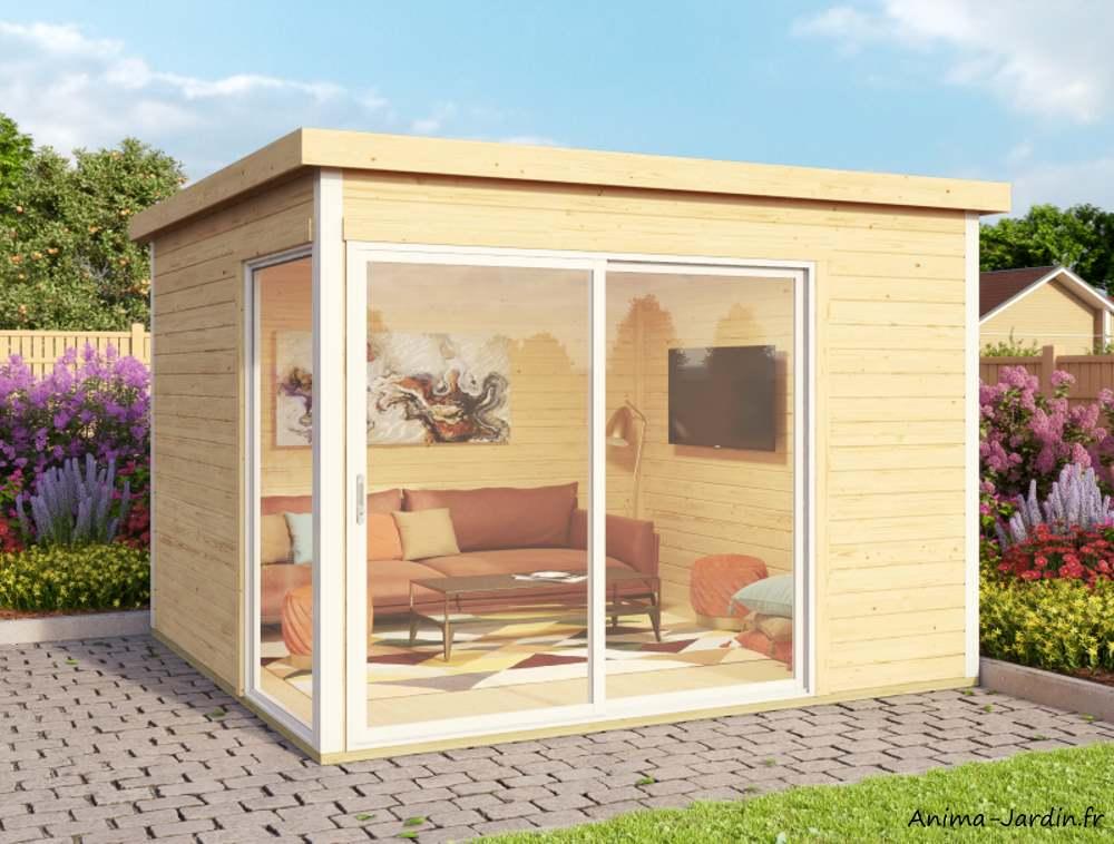 Abri de jardin en bois-9m²-44mm-domeo1-avec baie vitrée-épicéa-moderne-achat