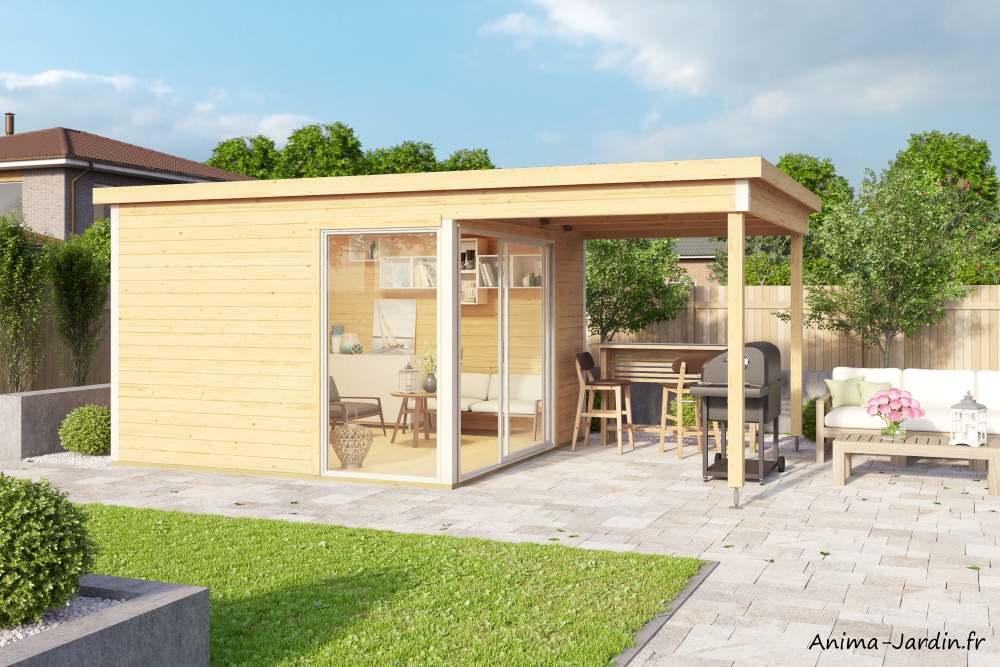 Abri de jardin en bois-9 m²-44mm-Domeo2-avec avancée-baie vitrée-épicéa-achat