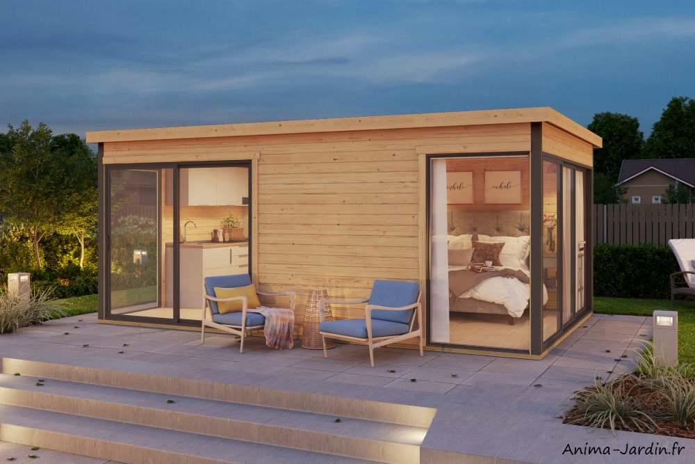 Abri de jardin en bois-16m²-44mm-domeo3-deux parties-baie vitrée-épicéa-achat