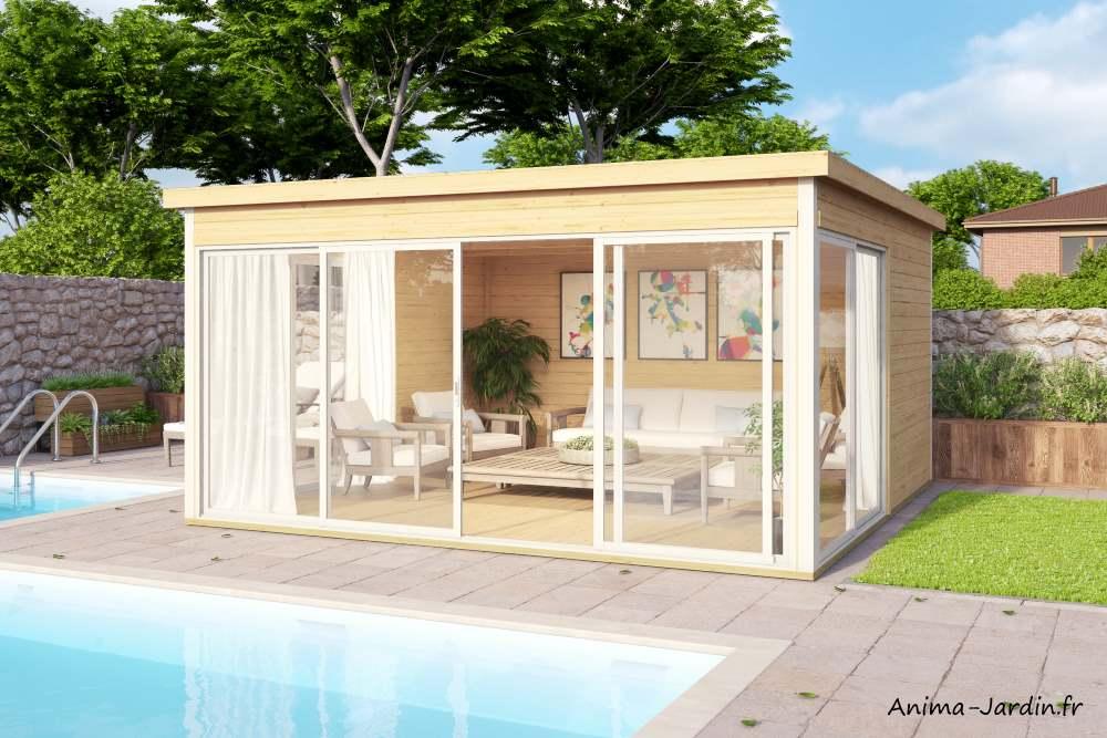 Abri de jardin en bois, 16,74 m², 44 mm, DOMEO5, baie vitrée, toit plat, épicéa, moderne, achat