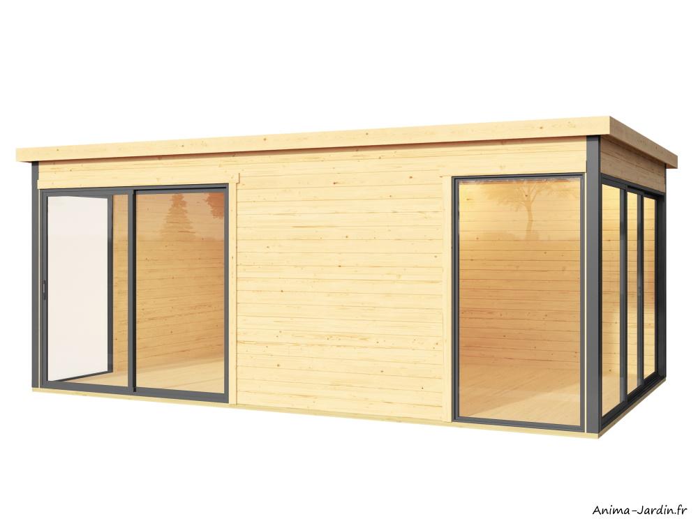 Abri de jardin en bois-15 m²-Domeo 3 Plus-deux pièces-baie vitrée-épicéa-achat-Anima-Jardin.fr