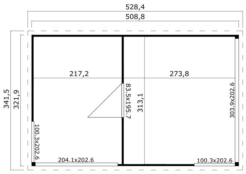 Abri de jardin en bois-15 m²-44mm-Domeo 3 plus-deux pièces-baie vitrée-épicéa-achat-Anima-Jardin.fr