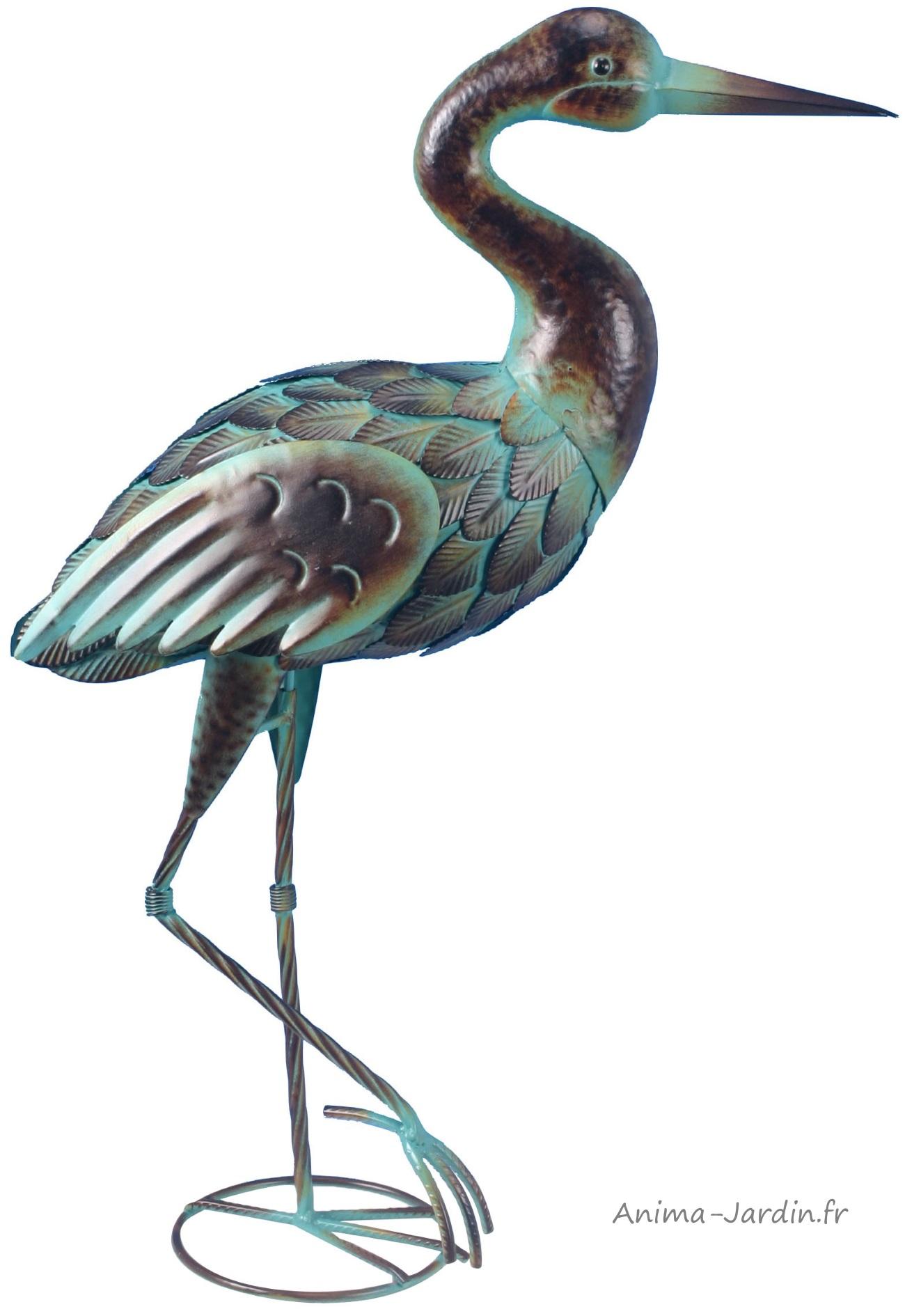 Echassier-oiseau-métal-décojardin-anima-jardin