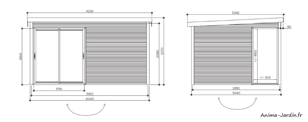 Abri de jardin en bois avec baies vitrées-Faro-28 mm-12m²-toit plat-Solid-dimensions-achat-Anima-Jardin.fr