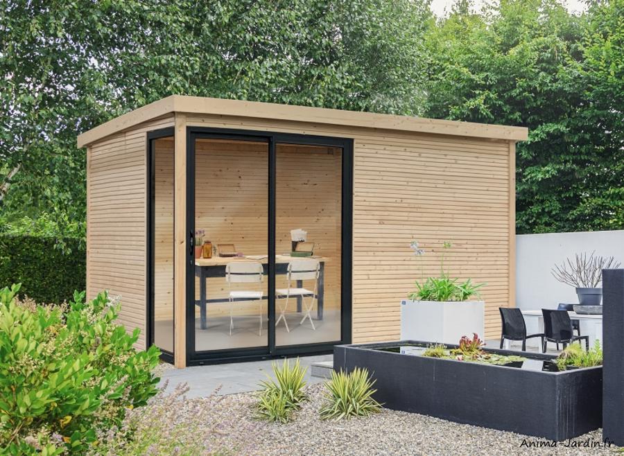 Abri de jardin en bois avec baies vitrées-Faro-28mm-12m²-toit plat-Solid-achat-pas cher-Anima-Jardin.fr
