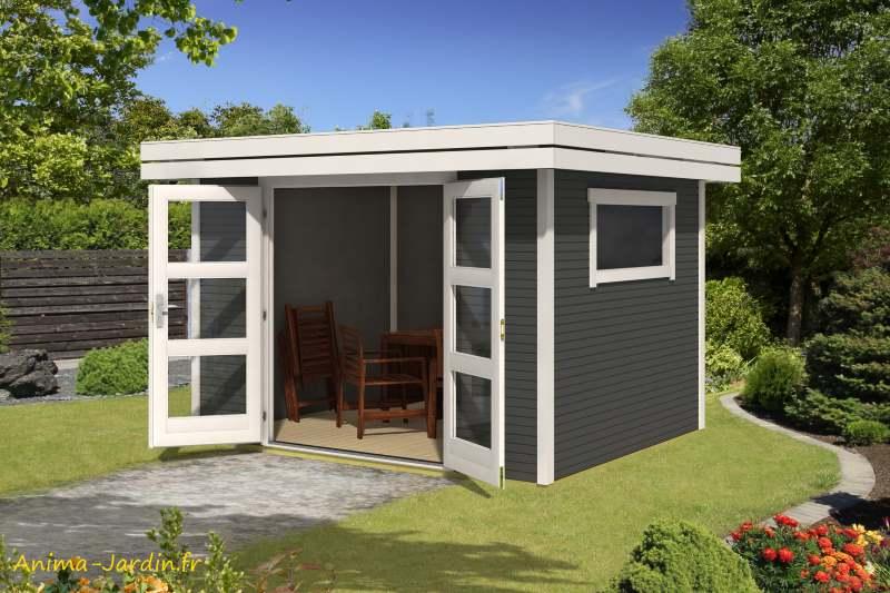 Abri de jardin en bois-29 mm-Faro 1-7m²-Anthracite-toit plat-épicéa-achat-Anima-Jardin.fr