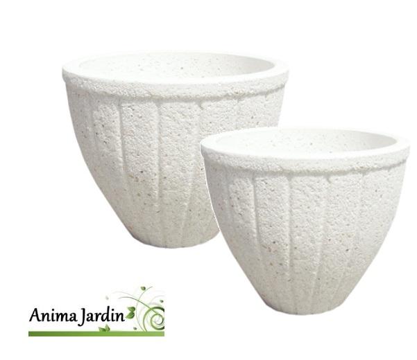 Bac rond-Fuengirola-51cm-68cm-pierre reconstituée-marbre blanc-Anima-Jardin.fr