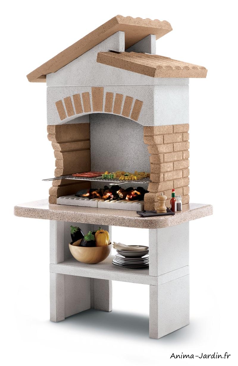 Barbecue en pierre-Tupai-avec hotte-marmotech-charbon de bois-Palazzetti-barbecue de qualité-Anima-Jardin.fr