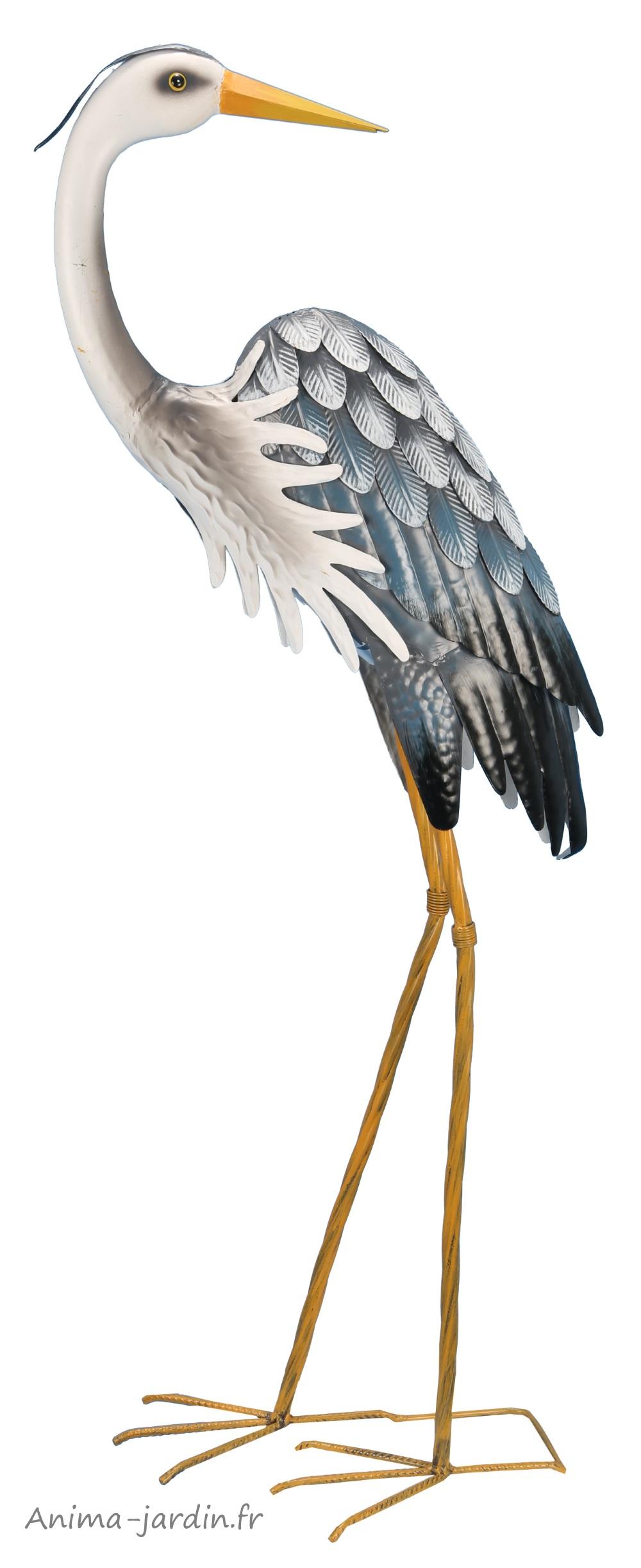 Héron-métal-oiseau-animal-riviera-pas cher-anima-jardin