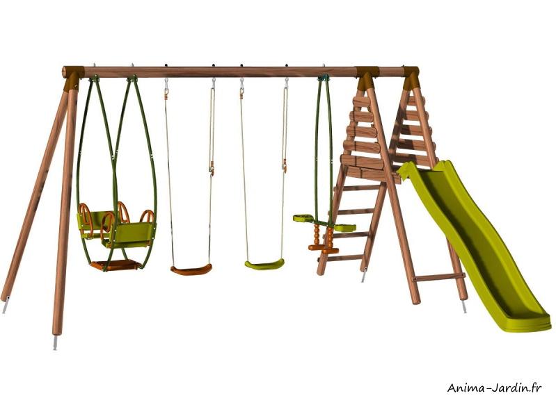 Portique en bois Jacinthe, toboggan, balançoire, vis-à-vis, balancelle, Soulet, achat, pas cher