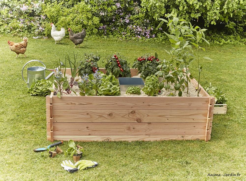 Carré potager en bois-Keyhole Garden-170-120 cm-potager autonome-Mon petit Potager-Anima-Jardin.fr