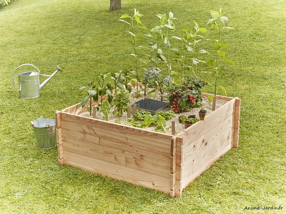 Petit carré potager en bois-Keyhole Garden-120 x 120 cm-potager autonome-Mon Petit Potager-Anima-Jardin.fr