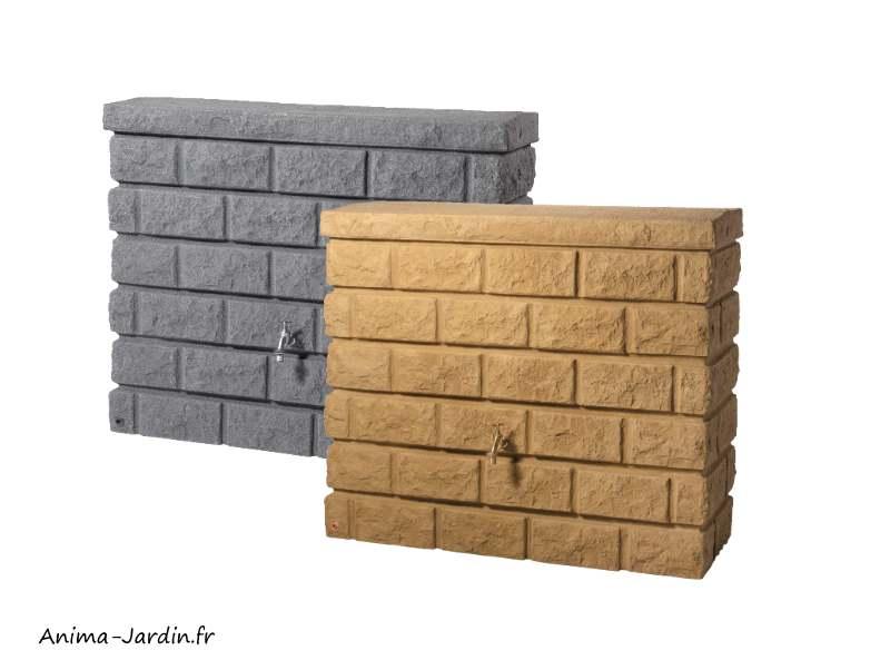 Récupérateur d'eau de pluie-imitation pierre-mur rocky-400L-Graf-achat-pas cher-Anima-Jardin.fr