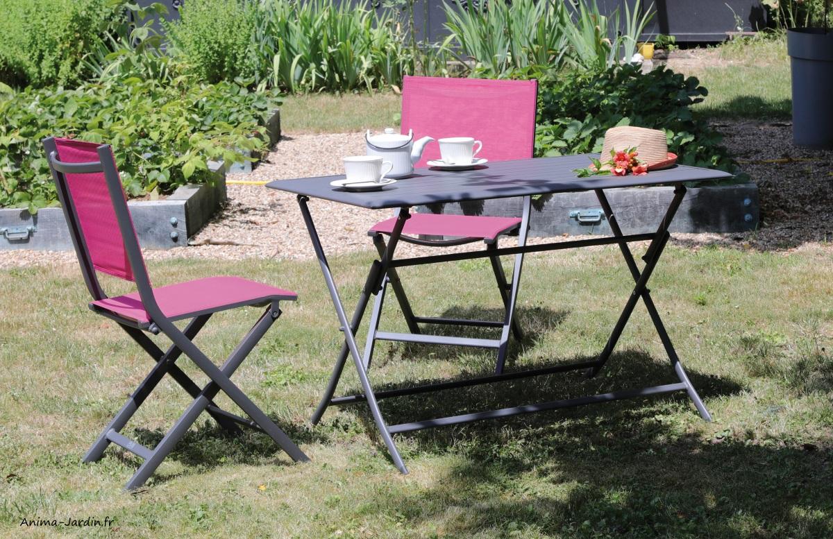 Salon de jardin équipé, table rectangulaire Lorita, chaises Thema ...