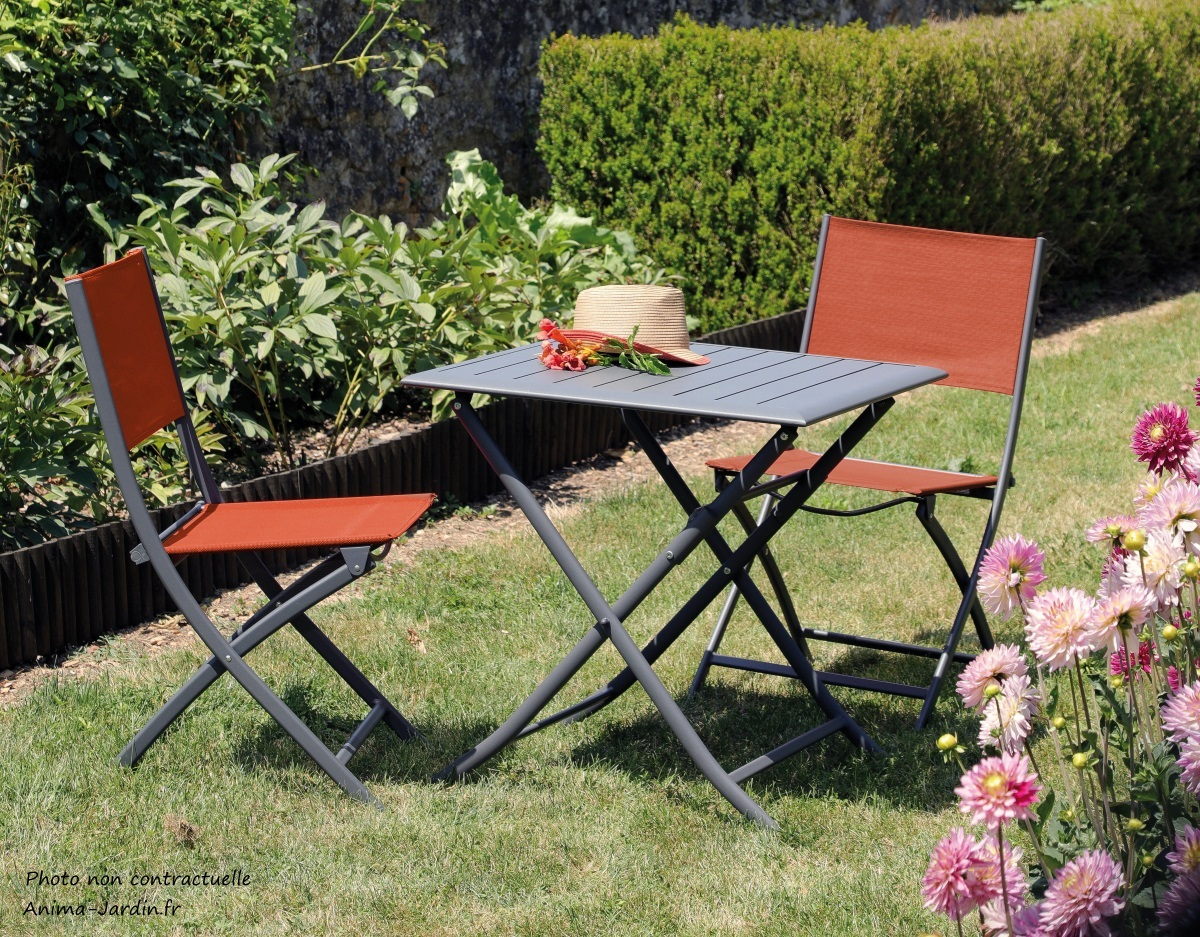 Ensemble petit salon de jardin-table Lorita-chaises Dream paprika-aluminium-Anima-Jardin.fr