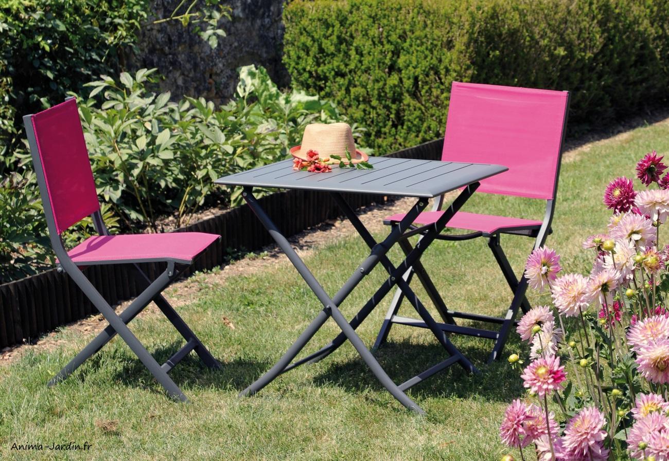 Ensemble petit salon de jardin-table Lorita-chaise thema framboise-aluminium-Anima-Jardin.fr