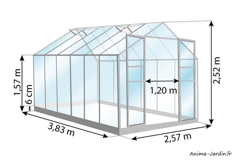 Serre de jardin-Laurus Uranus-9,85 m²-dimensions-Lams-Anima-Jardin.fr