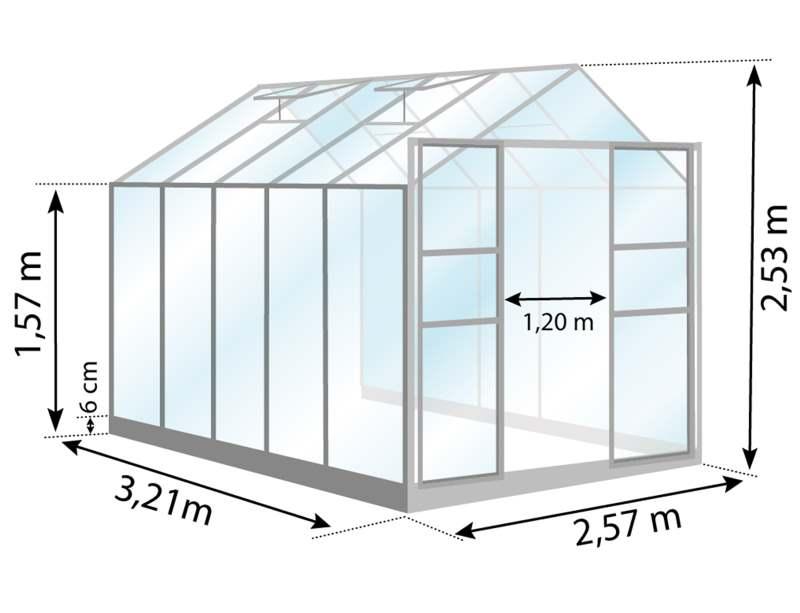 Serre de jarin en aluminium, Laurus Uranus, 8,30 m², dimensions, Lams, Anima-Jardin.fr
