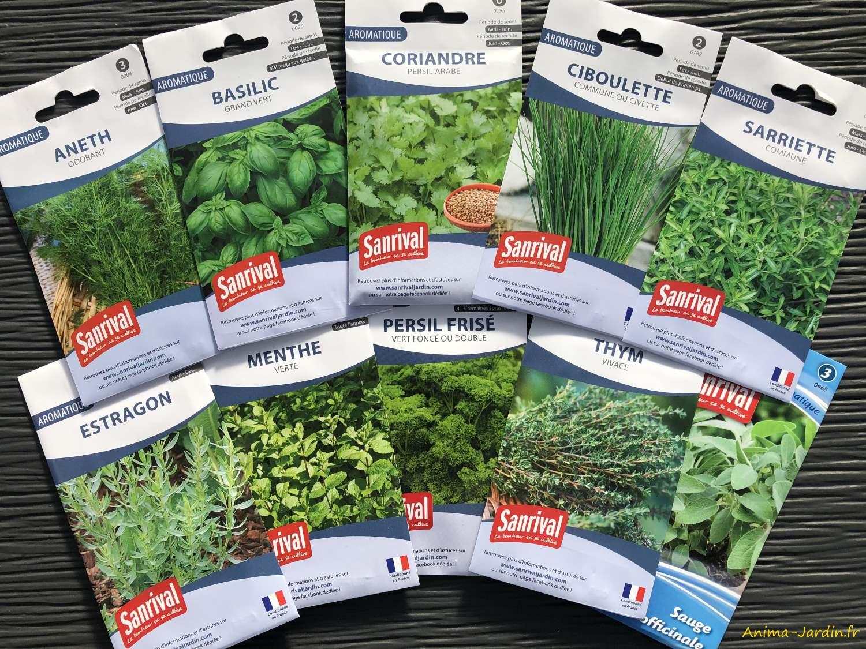 Lot de 10 paquets graines-aromatiques-potager-jardin ouvrier-Sanrival-pas cher-économique-Anima-Jardin.fr