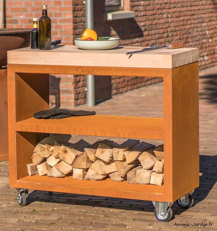 Plan de travail-Billot Pro-meuble pro avec roulettes-Corten-150 cm-surface de préparation-Quoco-Fargau-achat-Anima-Jardin.fr