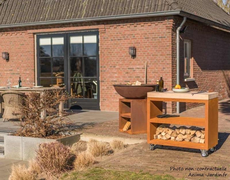 Plan de travail-Billot pro-meuble pro avec roulettes-Noir-150 cm-surface de préparation-Quoco-Fargau-Anima-jardin.fr