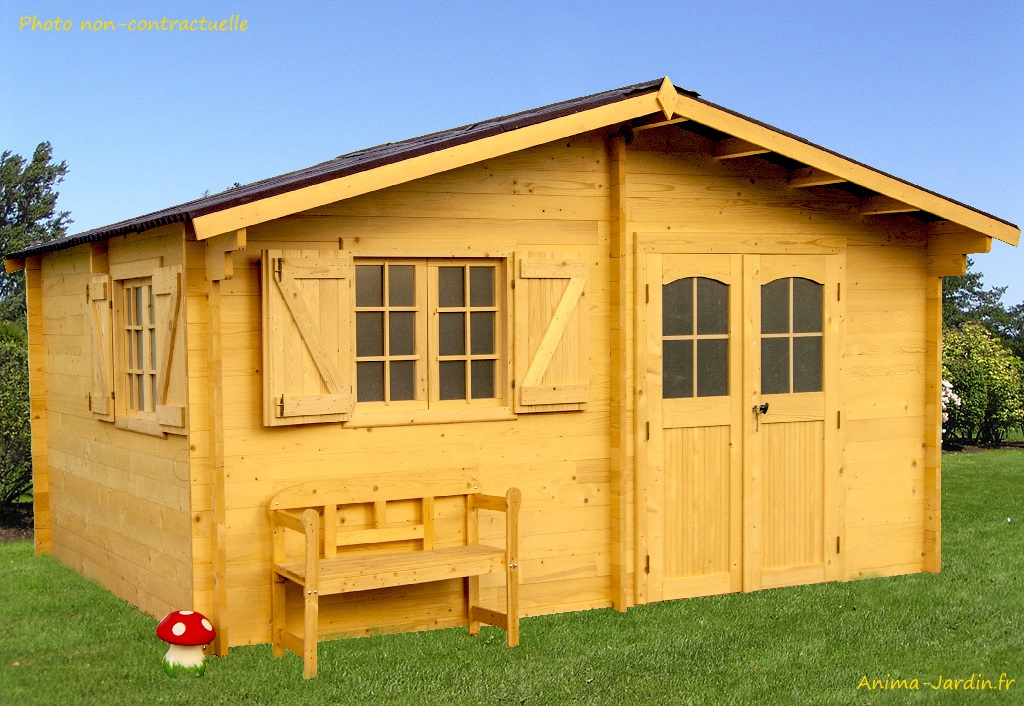 Abri de jardin en bois, 42 mm, semi-habitable, 17 m², grande ...
