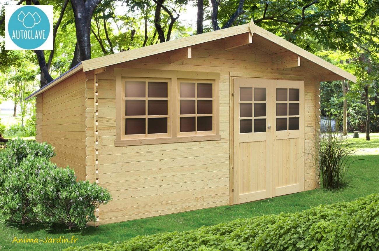 Grande Cabane De Jardin Pas Cher abri de jardin en bois traité autoclave 28mm, niort, 11 m²