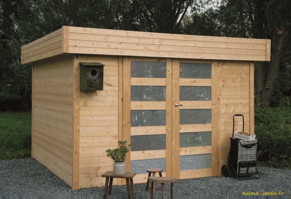 Abri de jardin en bois-28mm-Odense-toit plat-9m²-Solid-pas cher-Anima-Jardin.fr