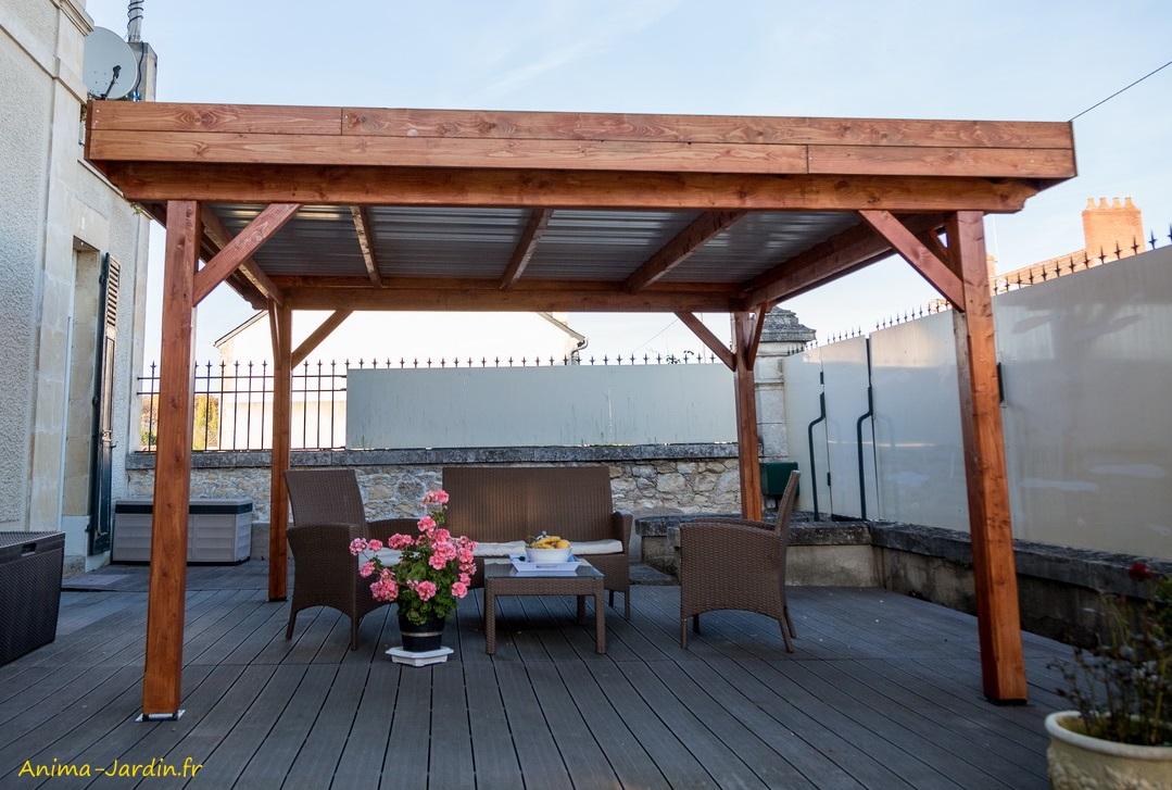Auvent Ombra-toit plat-couverture bac acier-Foresta-Anima-Jardin.fr
