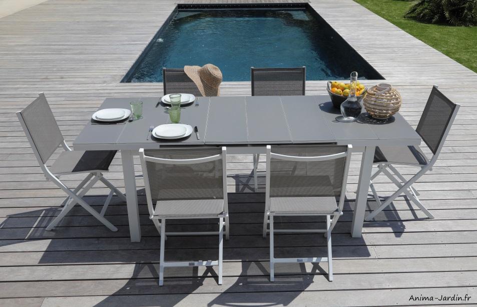 Salon de jardin équipé, table rectangulaire Ondine, blanc et ...