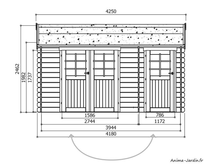 dimensions, abri de jardin en bois 28mm, Passage, 11 m², 2 parties, Solid, pas cher, achat