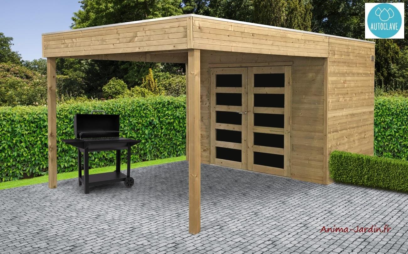 Abri bois autoclave-avancée-espace détente-chalet-cabane-anima-jardin.fr
