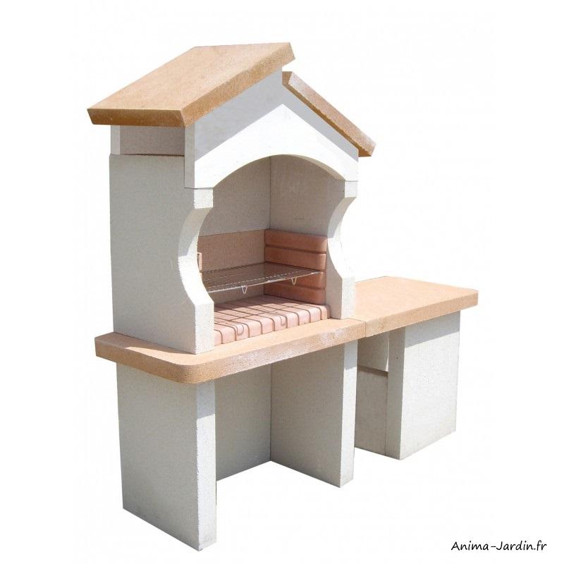 Barbecue en pierre-Palerme-avec tablette-charbon de bois-Grandon-achat-pas cher-Anima-Jardin.fr