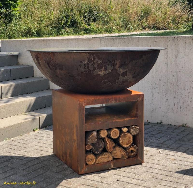 Braséro-Piatto XL Corten-ø130 cm-aspect rouille naturel-Quoco-plancha-barbecue-braséro 3 en 1-Fargau-Anima-jardin.fr