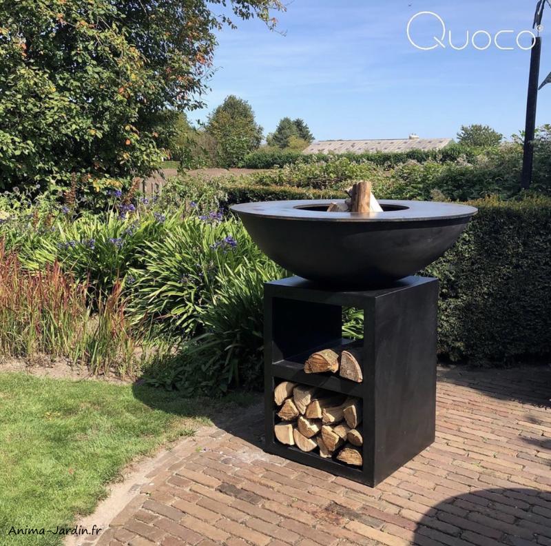 Braséro-Piatto large black-ø94 cm-Quoco-acier peint-plancha-barbecue-cuisine extérieure-Anima-Jardin.fr