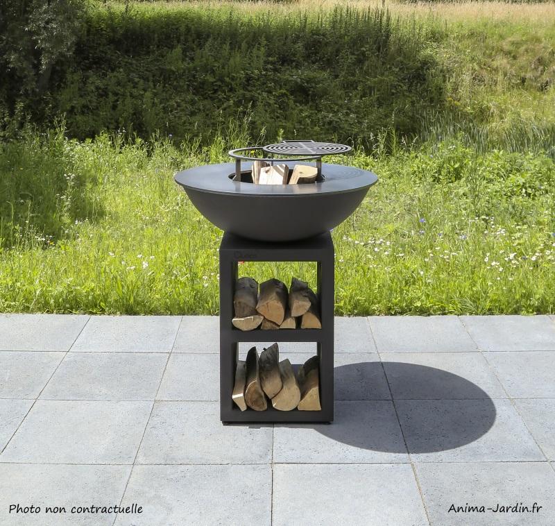 Braséro-piatto medium black-ø84cm-Quoco-acier peint-plancha-barbecue-cuisine extérieure-achat-Anima-Jardin.fr